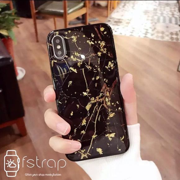 Black Gold Foil Bling Marble Case
