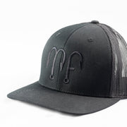 All Black MF Motion Fishing Logo Richardson 112 Snapback Hat