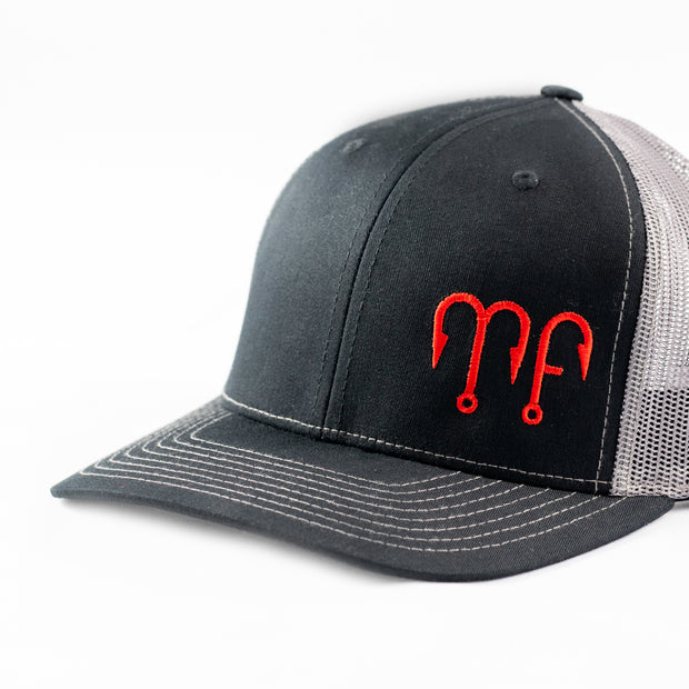 Black Front with Grey Mesh Richardson 112 Snapback Hat with a Red MF Motion Fishing Logo