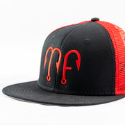 Black Front Red Mesh Otto Flat bill Snapback Hat with Red MF Motion Fishing Logo