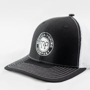 Black Front White Mesh Back Richardson 112 Snapback Hat with a white motion fishing logo
