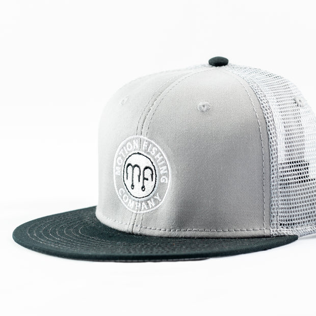 Grey Otto Black Flat bill Snapback Hat with White Motion Fishing Logo