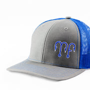 Grey Front Royal blue Mesh Richardson 112 Snapback Hat with a blue MF Motion Fishing Logo