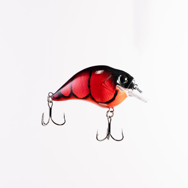 Itao Custom SB Crankbait in Lipstick color., Red Squarebill Crankbait with Mustad Triple Grip hooks