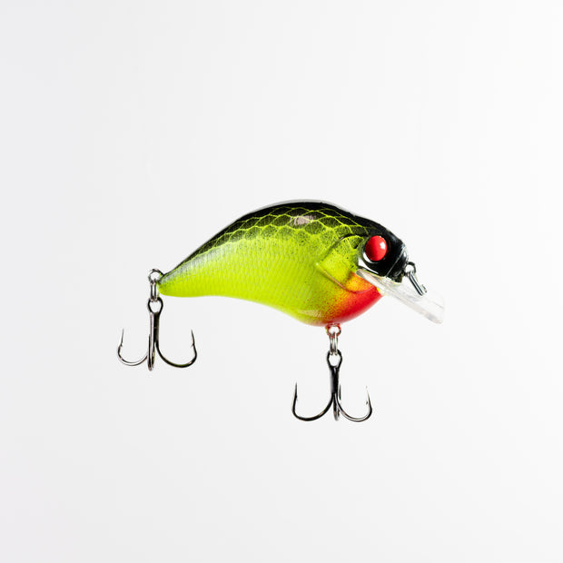 Itao Custom SB Crankbait in Mr Nasty color. Chartreuse Black Back Squarebill Crankbait with Mustad KVD Triple Grip hooks