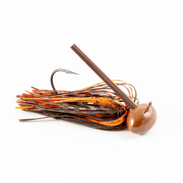 Hand Tied Rustic Fire Brown-Rust-Orange Football Bass Jig