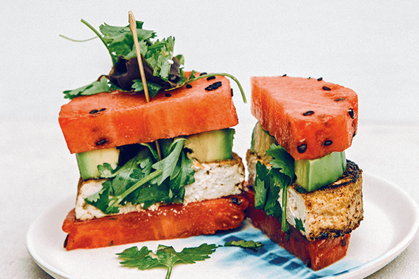 Vegan Watermelon Avocado Poke Burger