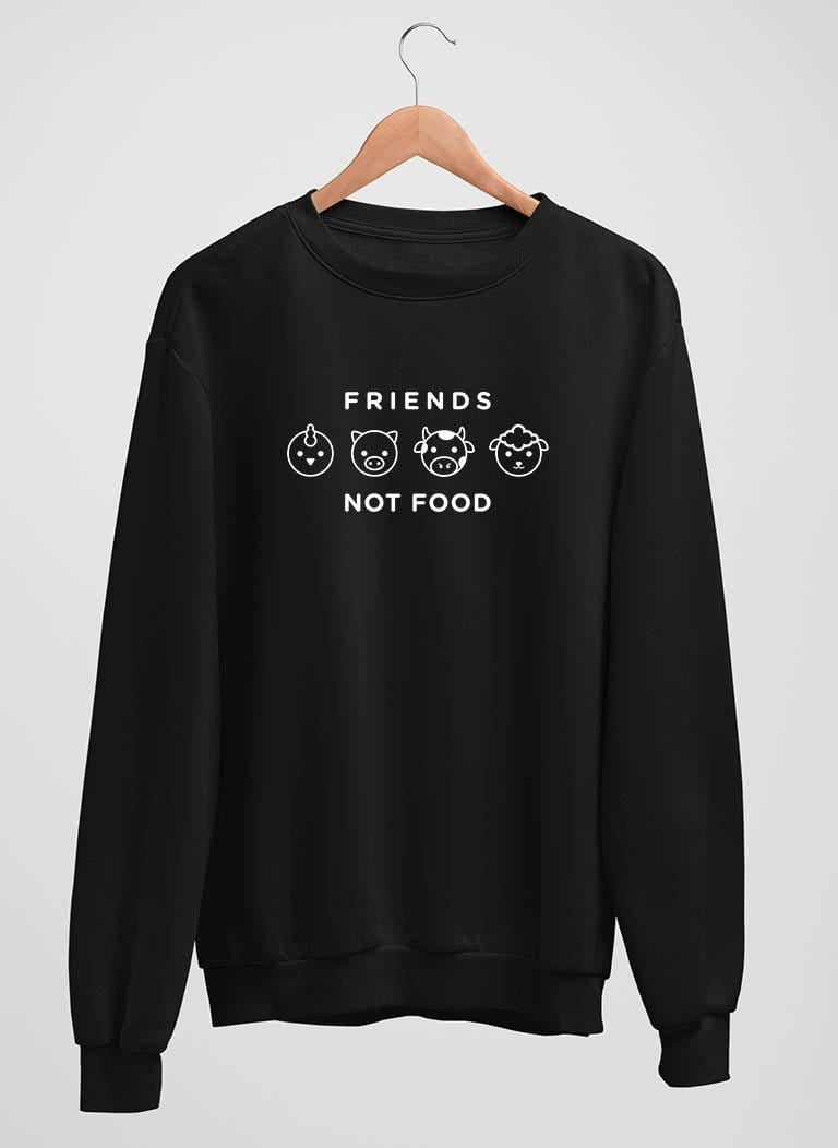 The Vegan Vibe Store Sweatshirt Black / S Friends Not Food | Vegan Crewneck