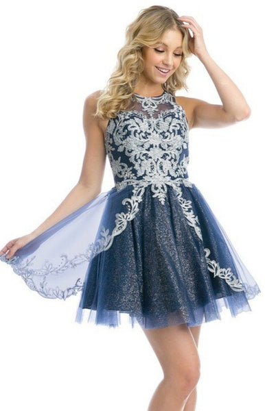 Navy Embroidered Glitter Homecoming Dress