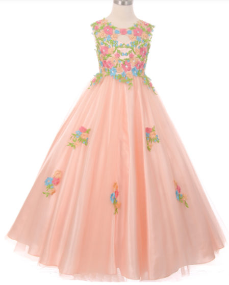 Girls Soft Tulle Floral Embroidered Open Back Bodice Gown