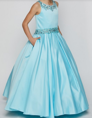 Girls Matte Satin Gown with Beaded Neckline and Waist