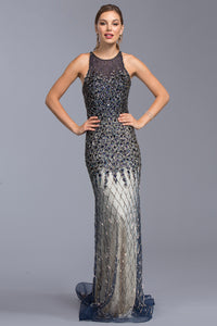 Elegant Beaded Navy and Silver Gown