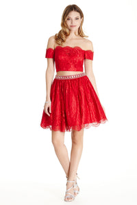 Short Cocktail 2 Piece Lace Short Dress in Red, Navy, Blush