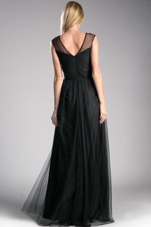 Full Length A-Line Dress with Sweetheart Illusion V-Neck