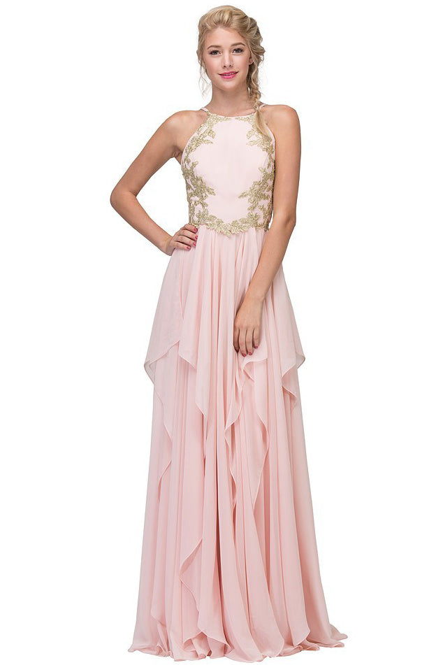 Chiffon Grecian Style Halter Gown with Gold Embellishment