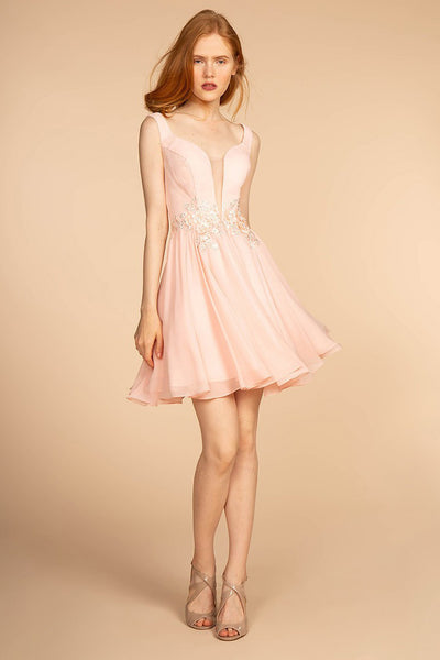 Blush Deep V Jewel Waist Chiffon Short Dress