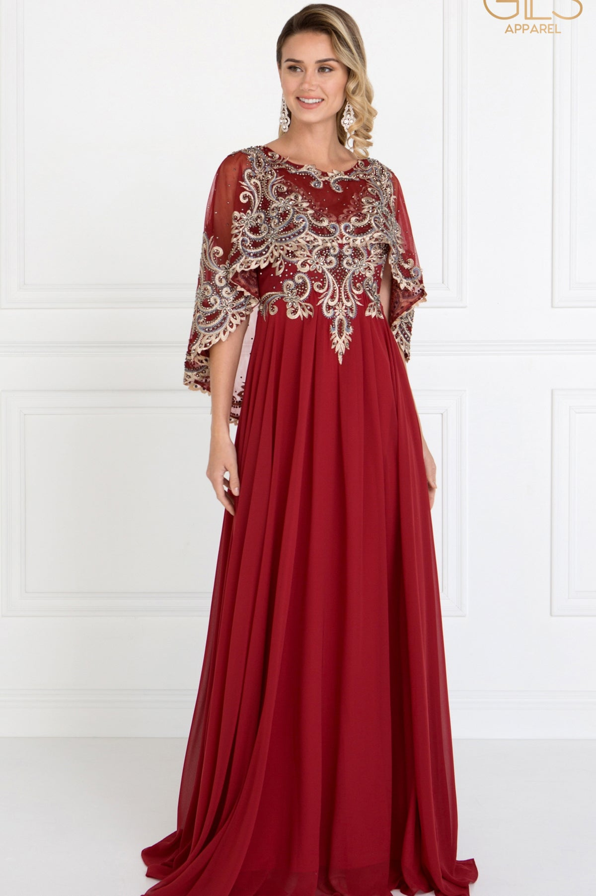 Lace Embroidered Mantle Top Gown