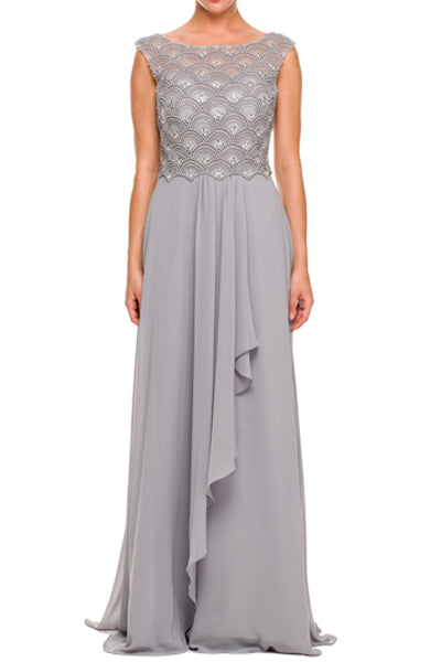 Jewel Embellished Chiffon Evening Gown