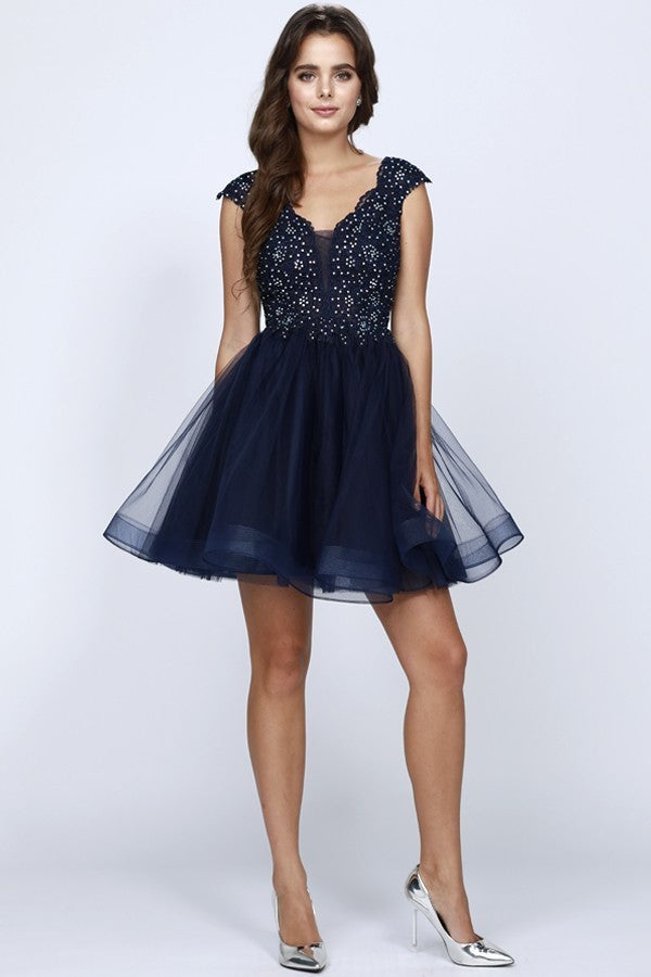 Beaded Bodice and Tulle Homecoming Cocktail Dress