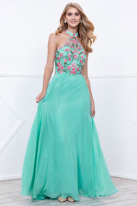 Mint Floral Halter Neck Chiffon Floor Length Formal Gown