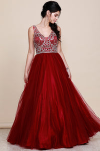 Burgundy Bling Gown with Rhinestone Bodice and Tulle Overlay Skirt