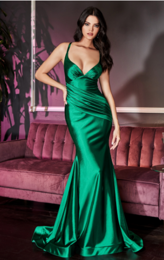 Emerald Fitted Stretch Satin Gown