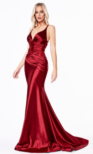 Red Fitted Stretch Satin Gown