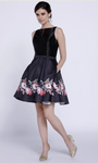 Black Floral Short Cocktail Dress with Pockets