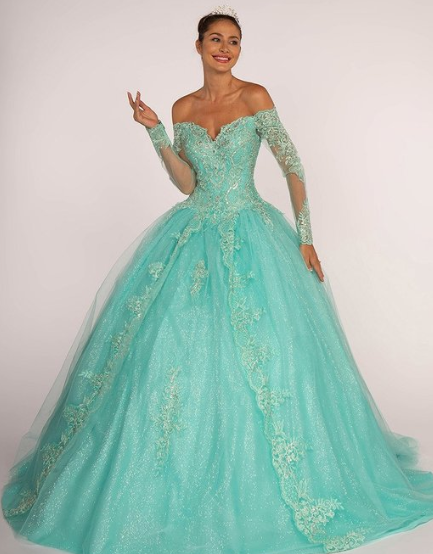 Tiffany Blue Off the Shoulder Ball Gown Quinceanera Gown