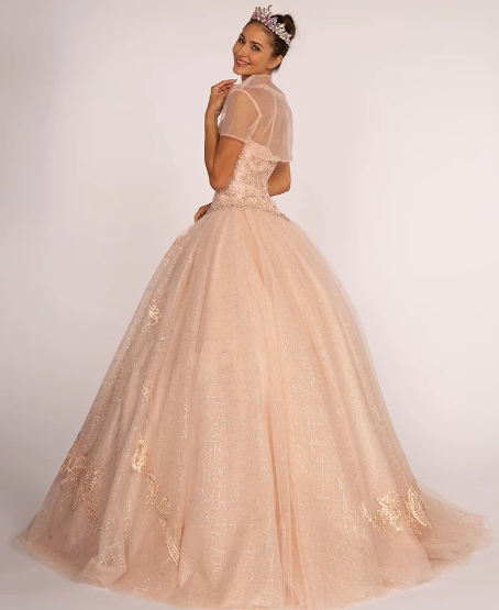 Blush Jeweled Bodice and Embroidered Ball Gown