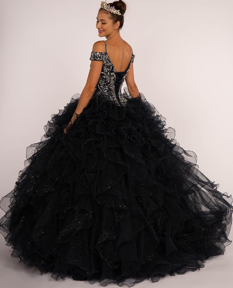 Navy Off the Shoulder Jeweled Bodice Ball Gown Quinceanera Gown