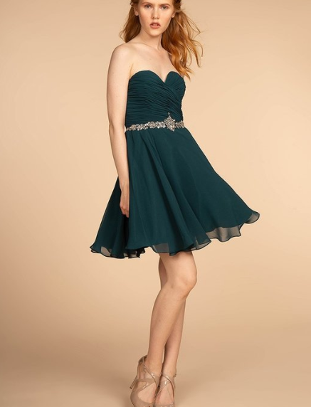 Teal Chiffon Ruched Sweetheart Bodice Short Homecoming Bridesmaid Dress