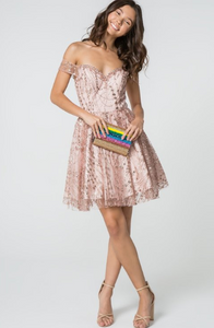 Rose Gold Jewel & Sequin Glitter Mesh Short Dress