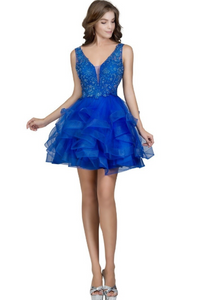 Royal Blue Homecoming Ruffled Tiered Short Dress