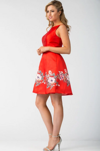 Red Floral Short Cocktail Dress with Pockets
