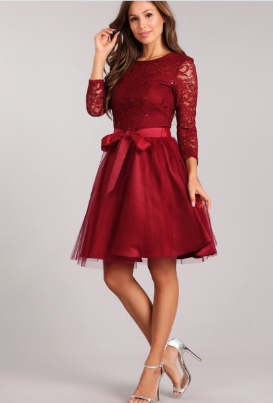 Burgundy Fit & Flare Lace Bodice 3/4 Sleeve Short Dress