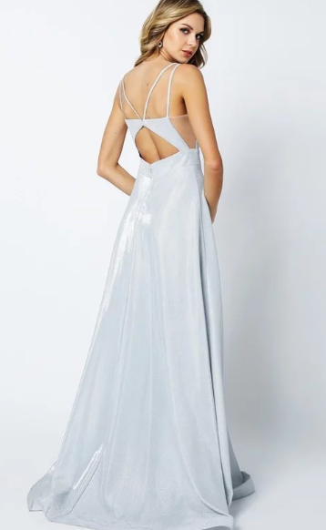 Silver Glitter Crepe A-Line Gown