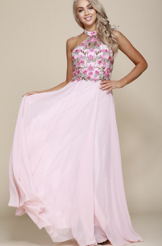 Blush Floral Halter Neck Chiffon Floor Length Formal Gown