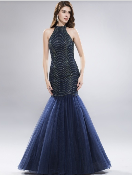 Navy Blue Mermaid Open Back Gown