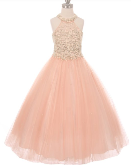 Girls Pearl Halter and Bodice  Layered Tulle Dress