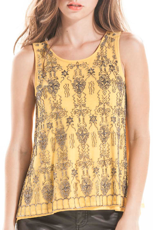 SAFFRON GUNMETAL BEADED TANK