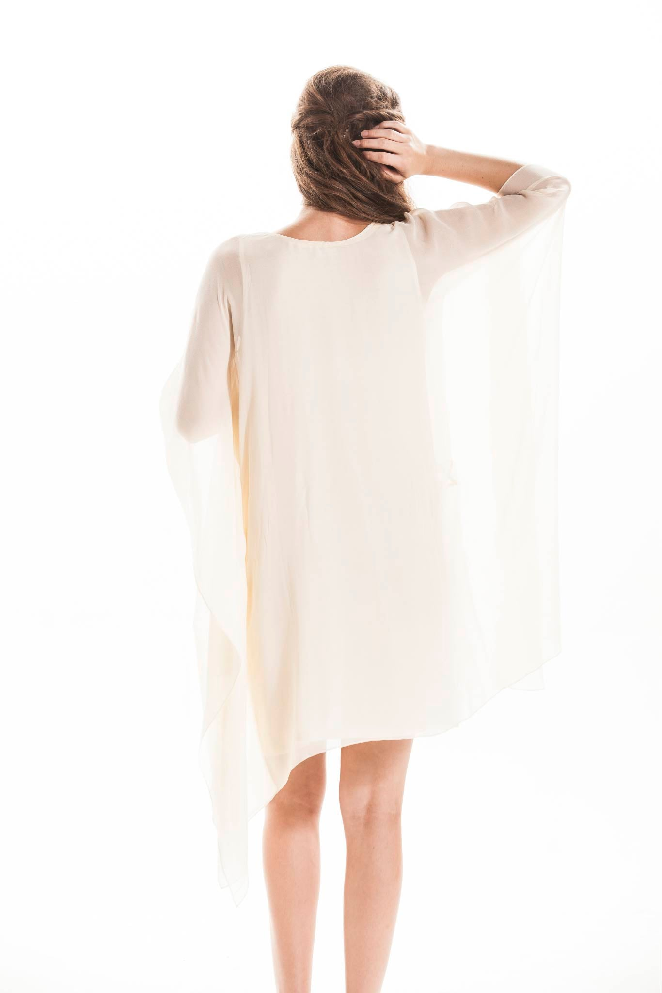 IVORY SILK KAFTAN DRESS