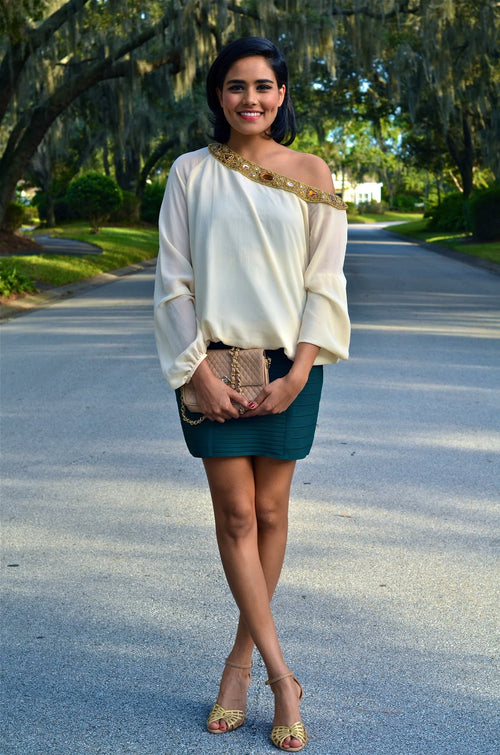 OFF SHOULDER EMBELLISHED TOP