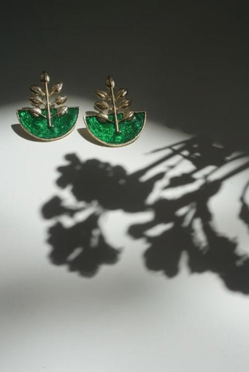 TULSI EARRINGS (EMERALD)