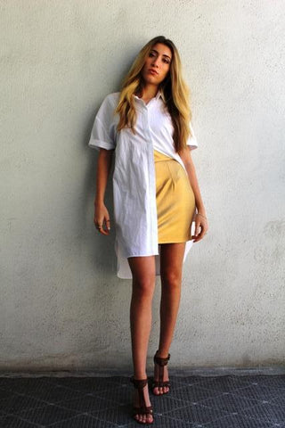 SAFFRON DROP-WAIST DRESS