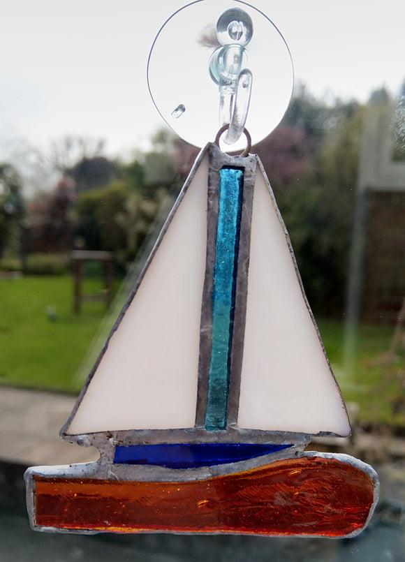 Blue and Orange Sailling Boat Sun Catcher