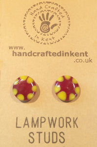 Red and Yellow Lampwork Studs 2