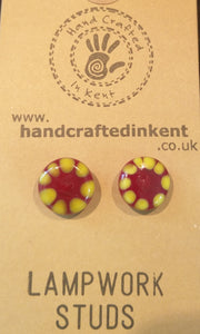 Red and Yellow Lampwork Studs