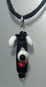 Black and White Lampwork Dog