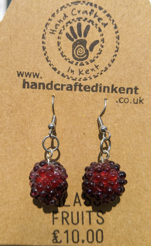 Glass Blackberry Earrings